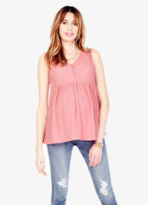 Ingrid & Isabel Maternity Crinkle Tank Top, Swingy Summer Gauze Small 4 6 Pink