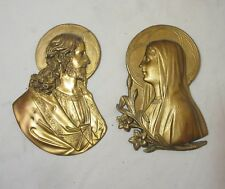 pair of antique gold gilded metal religious Saint Mary Jesus wall plaque art