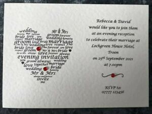 Personalised Handmade Wedding Invitations / Evening Invites with FREE Envelopes