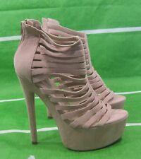 "new Skintone 6.5""High Stiletto Heel 2""Platform Open Toe  Sexy Shoes Size 9"