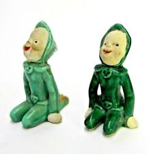 MATCHING PAIR OF GREEN ELF SPRITES NYMPH CALI CROWN CALIFORNIA POTTERY RARE LOT