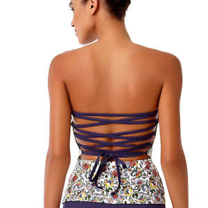 NEW ANNE COLE Happy Strappy Bandeau Lace Up Floral Tankini Halter Convertible XS