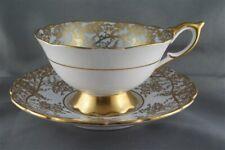 Royal Stafford Gold Vine Scroll on Light Blue Cup & Saucer