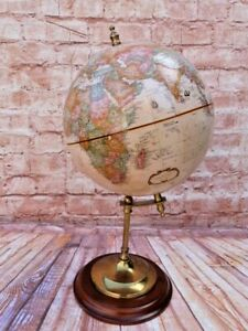 VINTAGE BRASS & WOOD REMPLOY TABLE TOP TERRESTRIAL GLOBE