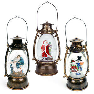 Musical Christmas Snow Globe LED Lighted Lantern Battery Operated Glitter Water