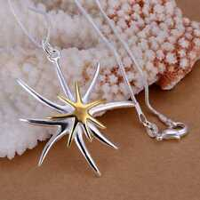 Hot 925Sterling Solid Silver Jewelry Gold Starfish Chain Pendant Necklace P026