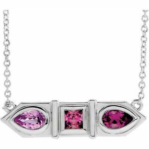 "Pink Multi-Gemstone Geometric Bar 16"" Necklace In Platinum"