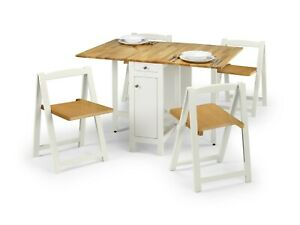 Savoy Folding Drop leaf Butterfly Dining Set with Table 4 Chairs White / Natural
