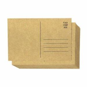 "50x Brown Kraft Paper Blank Postcards Pack Self Mailer Mailing Side Saver, 4x6"""