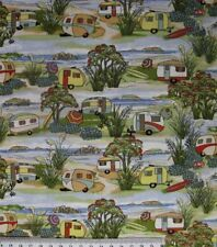 Patchwork Quilting Sewing Fabric CARAVANS RETRO Material Cotton FQ 50x55cm New