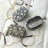 Women PU Leather Snake Skin Print Crossbody Shoulder Bag Messenger Handbag Purse