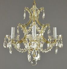 Marie Therese Crystal Chandelier c1950 Vintage Antique Restored Gold Glass Light