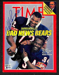 SIGNED AUTOGRAPHED WALTER PAYTON & WILLIAM PERRY BEARS TIME MAGAZINE BECKETT BAS