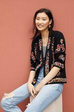 Anthropologie Maeve Ellen Embroidered Blazer Floral Black Cotton Size 12 New