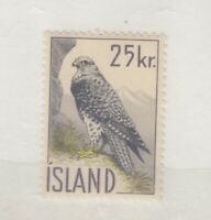 Iceland 1960 25Kr Gyrfalcon SG372 MNH JK1997