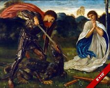 SAINT GEORGE SLAYING KILLING THE DRAGON PAINTING LEGEND ART REAL CANVAS PRINT