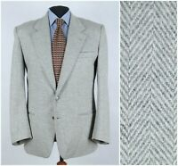 Mens DANIEL DODD UK 46R Light Grey Herringbone Tweed Sport Coat Blazer Jacket