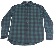 21 Men Mens Shirt Plaid Green Blue Size M Button Front Long Sleeve