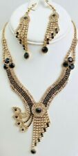 Vintage Hollywood Glam Art Deco Rhinestone  Necklace And Dangling Earrings