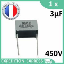 Condensateur moteur 3µF 3uF 450V fils MKSP-8 démarrage/permanent SH