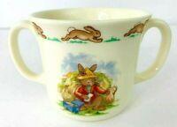 Royal Doulton England Bunnykins Double Handle Vintage Tea Cup / Coffee Mug