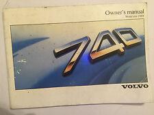 VOLVO 740 OWNERS MANUAL DRIVERS HANDBOOK PETROL DIESEL CARB & Fi MODELS 1987