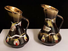 """PAIR of Carstens Tonnieshof West German Pottery Pitchers. 4 1/2"""" Tall - Labelled"""