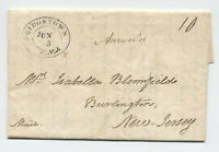 1824 Bridgetown NJ double oval stampless letter to Burlington [5246.11]