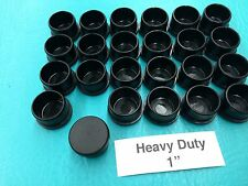 "24 Plastic Black Patio Chair Leg Inserts Cups 1"" Tube Cup Foot Glide Caps 1 inch"