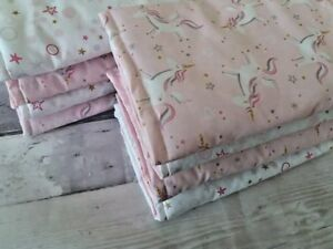 Unicorn Cot Bed Quilt, Bumper Bar Wraps, Pillowcase And Personalised Fleece