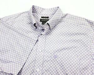 Ariat Stretch Purple Medallion Print Short Sleeve Button Up Shirt XLT XL TALL
