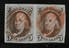 US 5c 1847 Pair - #1a, Chestnut Brown