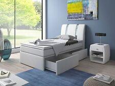 Designer Boxspringbett RIVA SINGLE 90x200 cm mit zwei Schubladen und Farbauswahl