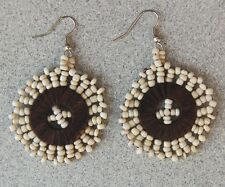 "1 1/2"" Beaded Earrings with Wood Disc Ivory/Stone - Handmade"