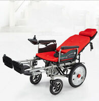 Portable Folding Power Electric Wheelchairs Elderly Disabled Lying Down Chair