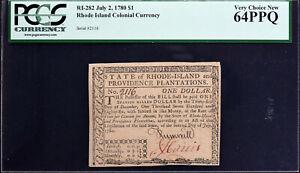 Rhode Island Colonial Currency 1780 $1 RI-282 CHOICE UNC PCGS 64 PPQ