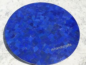 18 Inches Marble Corner Table Top Lapis Lazuli Stone Coffee Table for Home Decor