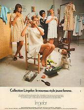 Publicité  Advertising 1968 Lingerie Lingelor robe de nuit pyjama sous vetement