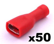 50x rouge femme 6.3mm Cosse bornes de Sertissage Isolé électrique câblage