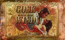 Art print on Silk Scarlett & Rhett Butler Gone with the Wind from a movie poster