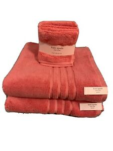 Kate Spade Harrington 100% Cotton Bathroom Towel Set Coral 4 Piece Made in India
