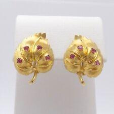 Vintage 18k Gold 750 Italy Natural Ruby Leaves Omega Back Earrings