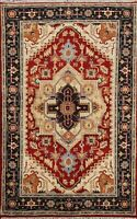 Geometric Indo Heriz Oriental Traditional Area Rug Hand-knotted Home Decor 4'x6'