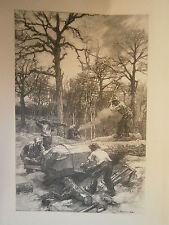Planche gravure Bucherons d'aprés Léon Lhermitte Graveur Clément Bellanger