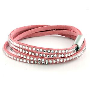 Womens Pink Leather Beaded Bracelet, Girls Stack Studded Wristband