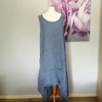 Italian Womens Blue Denim Chambray Style Lagenlook Linen Dress Size M Made Italy