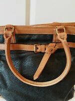 Rebecca Minkoff R&Em Tote Satchel Black and Tan Pebbled Leather 18 x 14 inches