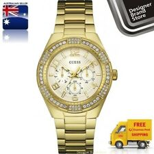 Guess Ladies Watch Luna Gold Tone Crystal Glitz Chrono U0729L2 W0729L2
