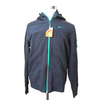 NIKE Men Size L Navy Blue Full Zip Hoodie Cotton Blend With Shoulder Overlay New