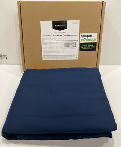 Amazonbasics Microfiber Duvet Cover Set With Snap Buttons Twin Navy Blue